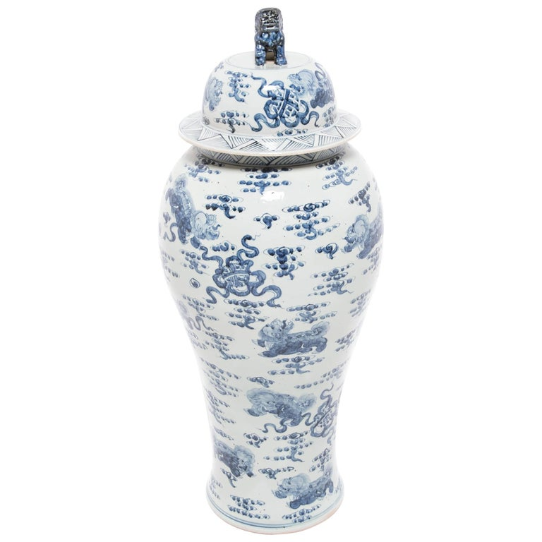 Monumental Chinese Blue and White Qilin Ginger Jar 1
