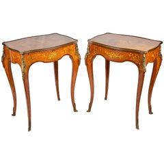 Pair of Louis XVI Style Marquetry Inlaid Side Tables