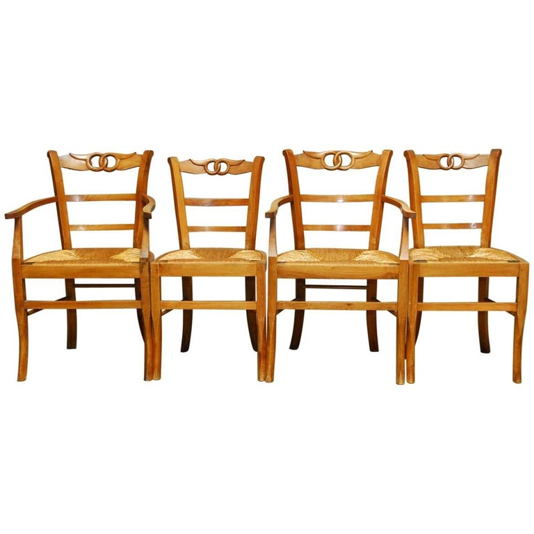Set of Four French Provincial Rush Seat Dining Chairs