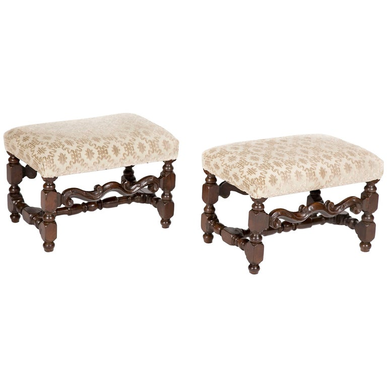 Fine Pair of Italian Baroque Walnut Benches