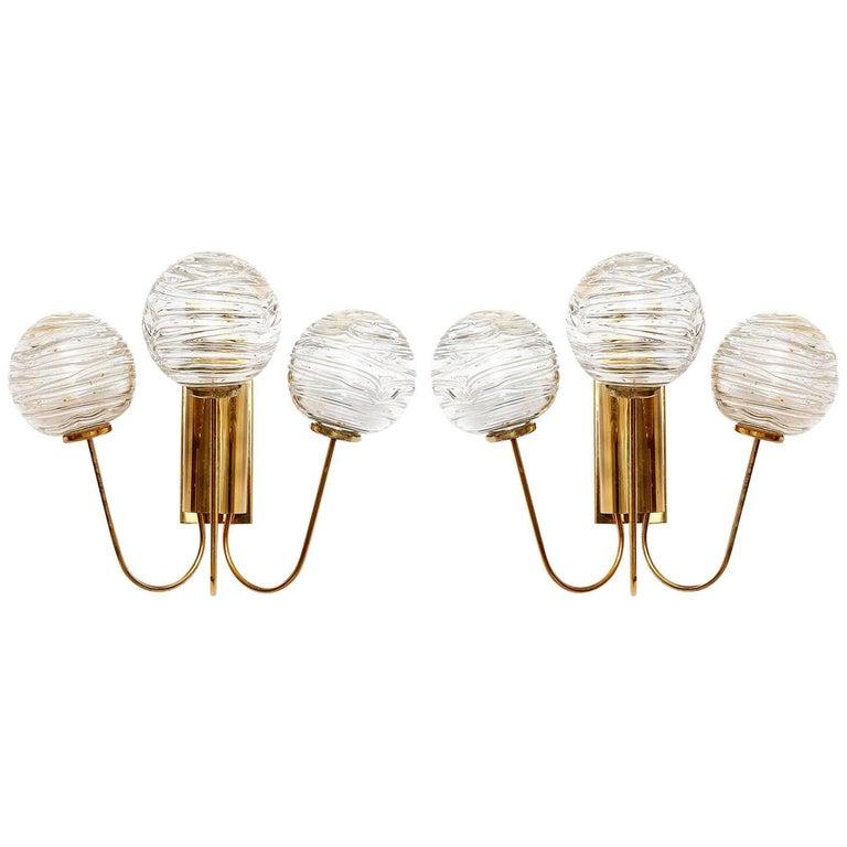 Doria Sconces Wall Lights, Glass Brass, 1960s
