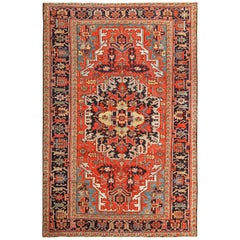 Antique Red Background Heriz Persian Rug