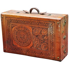 Vintage Mexican Craftsman Tooled Leather Wardrobe Suitcase