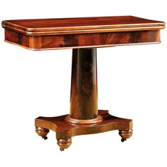 Antique American Empire Card/ Games Table in West Indies Mahogany with Pedestal