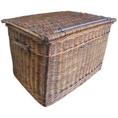 Good Large Antique Wicker Lidded Basket