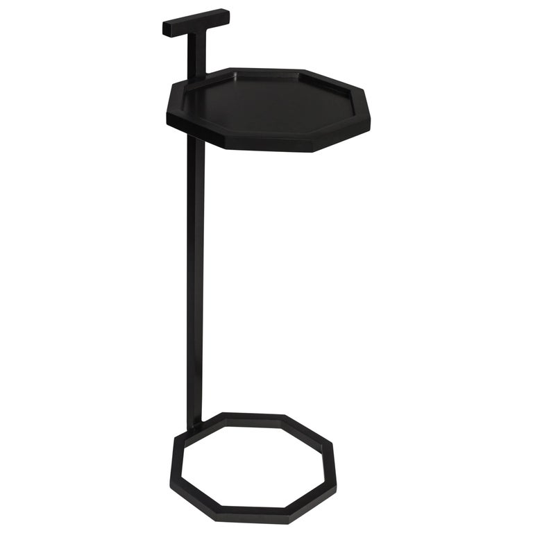 Gibson Martini Table in Steel Powder Coated, Art Deco Inspired Hexagon Shape