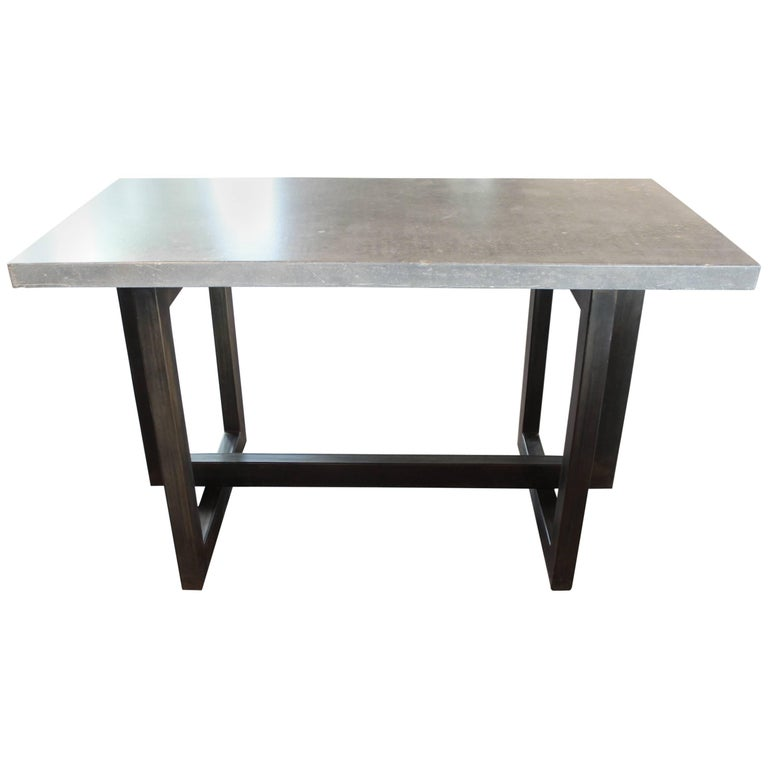 Geometric Form Patinated Steel Base with Archival Blue Stone Top