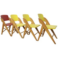 1950 Set of Four Folding Chairs Attributed to Roger Landault