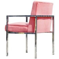 Modern Chrome and Velvet Armchair