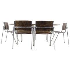"""Set of Six Rare """"Vaghi"""" Aluminium Design Chairs, 1960, Italy"""