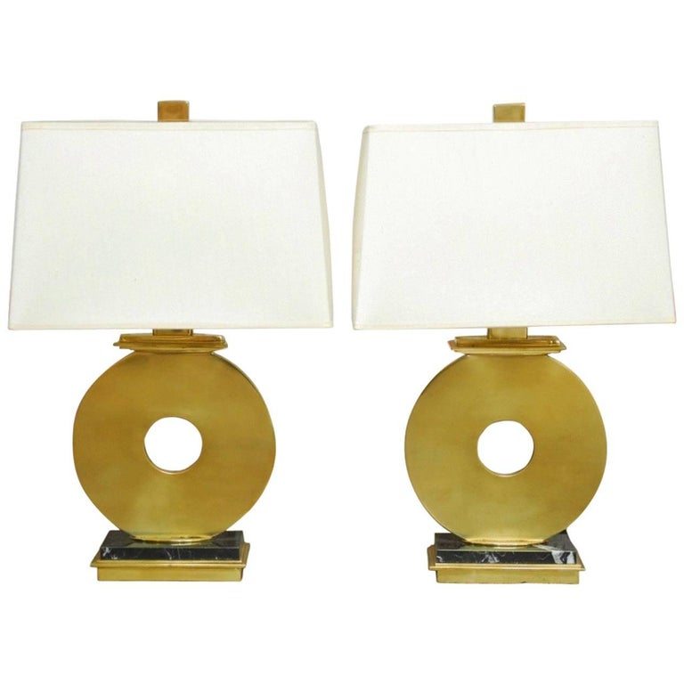 Pair Of Robert Abbey Modern Brass And Marble Table Lamps At 1stdibs