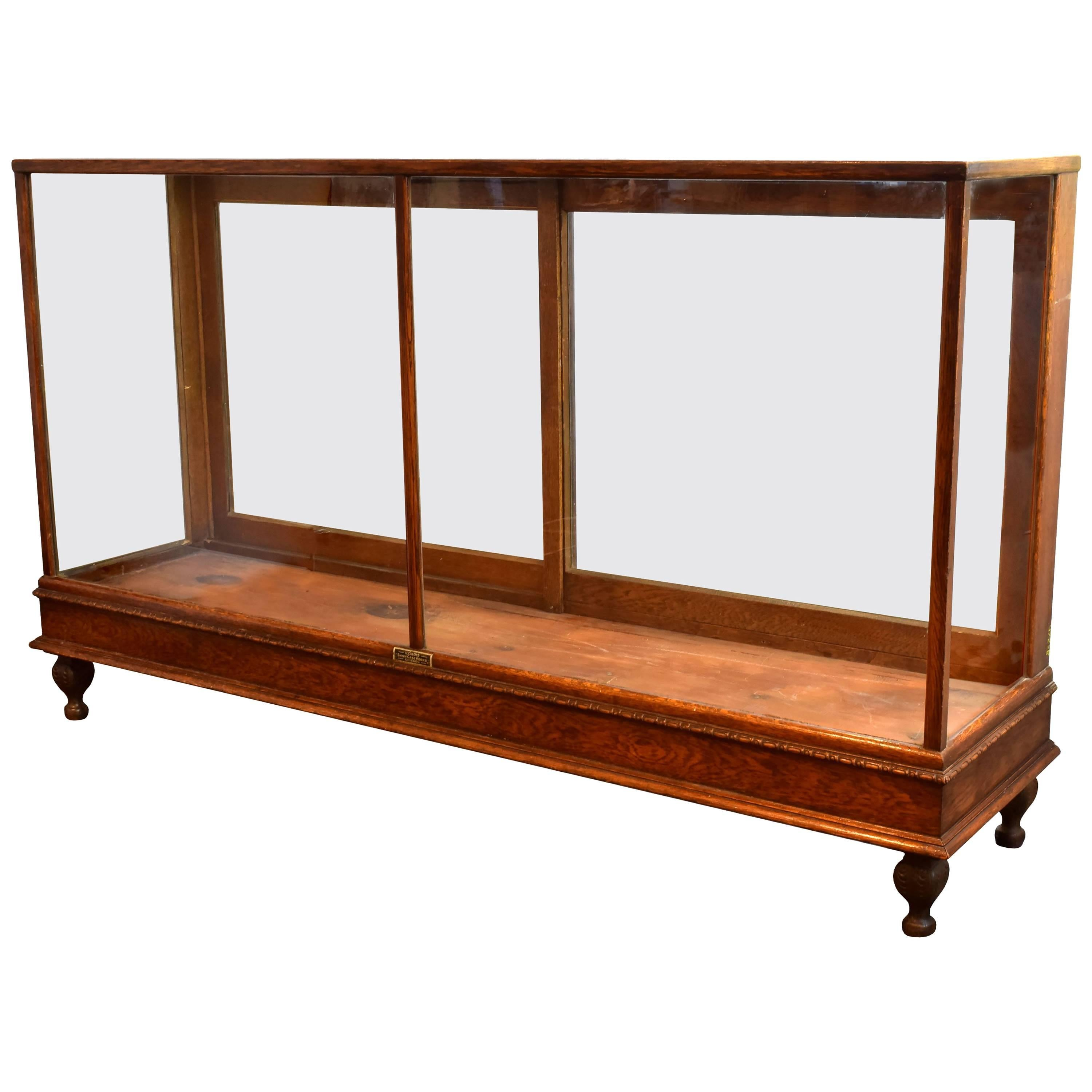 Oak Display Case With Cast Iron Feet, Circa 1920