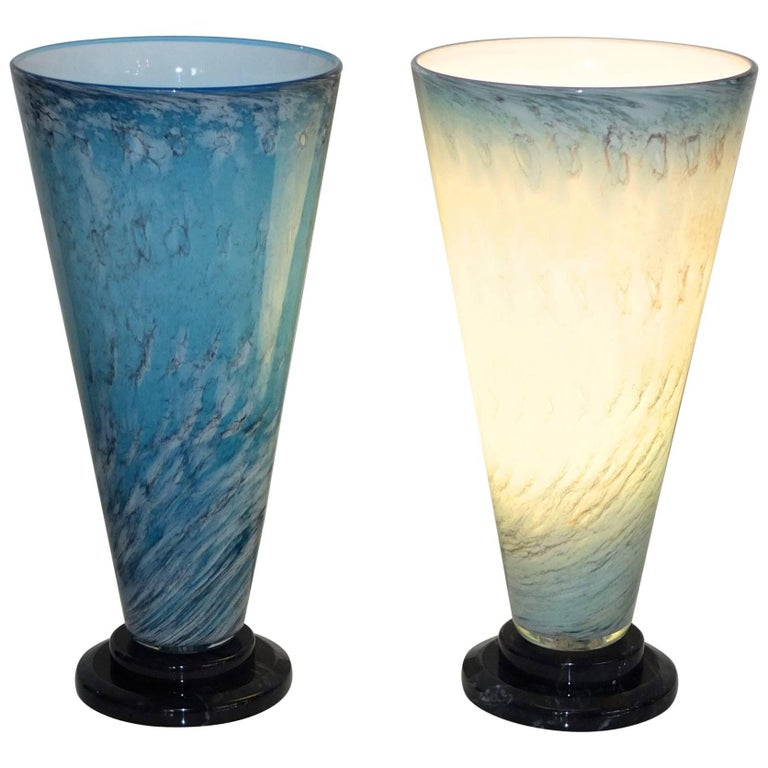 Pair of Art Glass Turquoise Blue V Lite Lamps, Signed 1989
