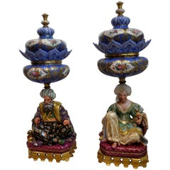 Pair of Jacob Petit 19th Century Porcelain Pot Pourri Vases of Eastern Figures