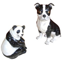 Italian Ceramic Boston Terrier and Panda
