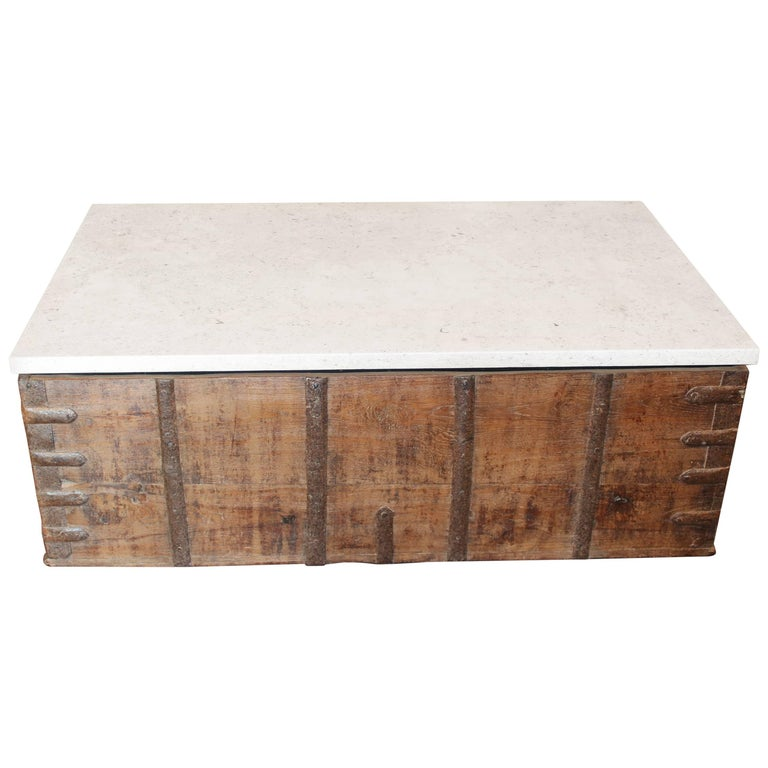 Antique Trunk As Coffee Table With Unusual Strap Hardware