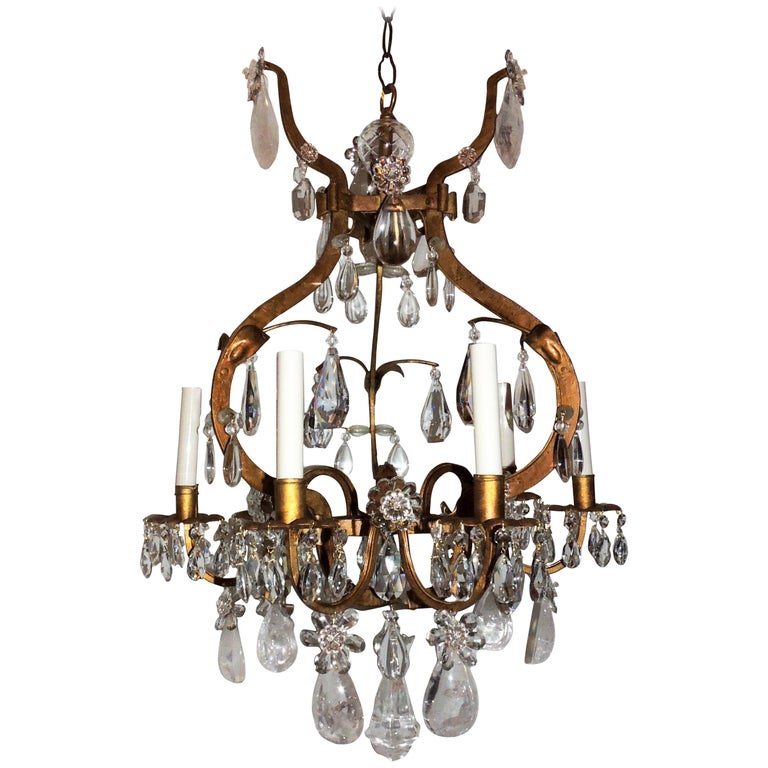Gold Gilt Rock Crystal Bagues Chandelier Mid-Century Modern Light Flower Fixture