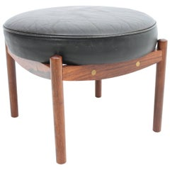 Black Leather Footstool with Rosewood Frame
