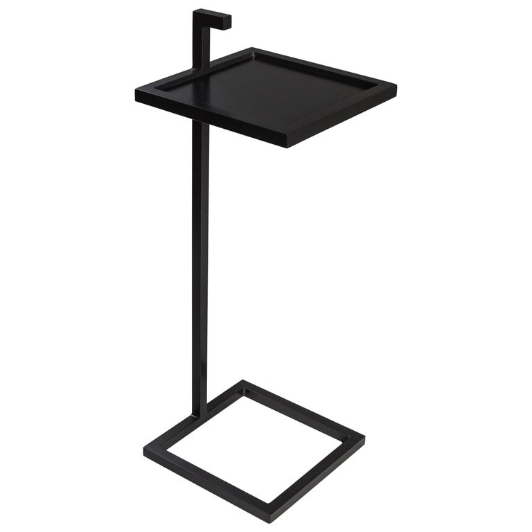 Bronx Martini Table in Steel Powder Coated, Art Deco Inspired, Square Shape For Sale