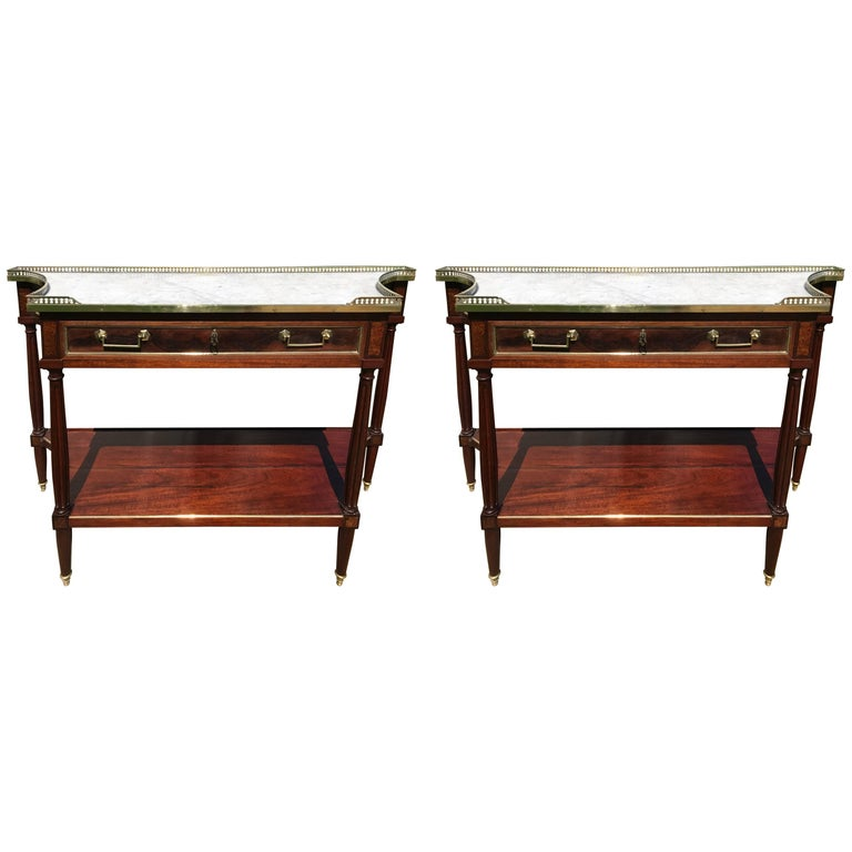 pair of marble top console tables for sale at 1stdibs. Black Bedroom Furniture Sets. Home Design Ideas