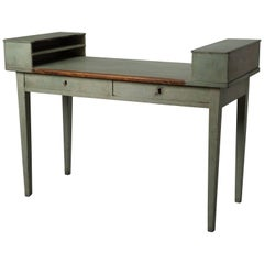 Charming desk in blue lacquered wood, Sweden XVIIIth century