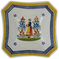 Mid-Century French Henriot Quimper Faience Square Serving Bowl, Breton Femme