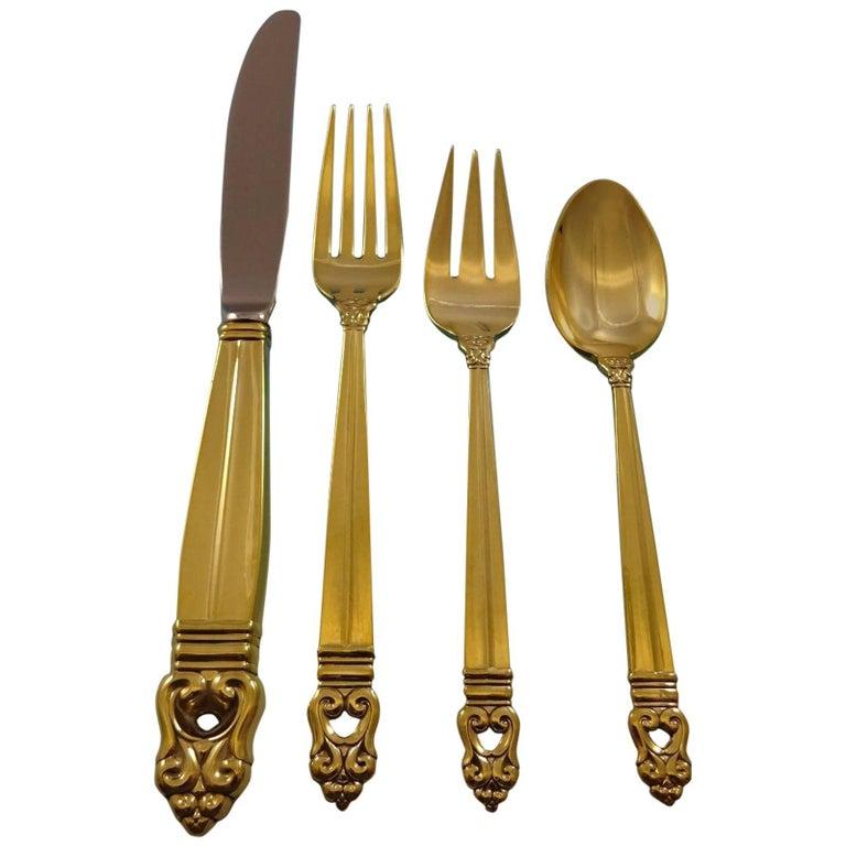 Royal Danish Gold by International Sterling Silver Flatware Set Service Vermeil For Sale
