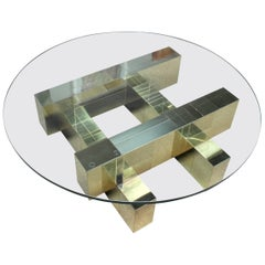 """Paul Evans Brass and Glass """"Cityscape"""" Brutalist Coffee Table, Signed"""