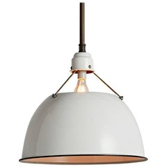 """Enormous Industrial Pendant with 24"""" Enamel Shade by Abolite, circa 1960s"""