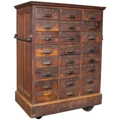 Rolling Apothecary Wood Storage Cabinet, Vintage Industrial with Brass Hardware
