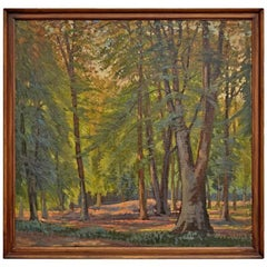 Large Modern Framed Painting of Forest Clearing, circa 1950s