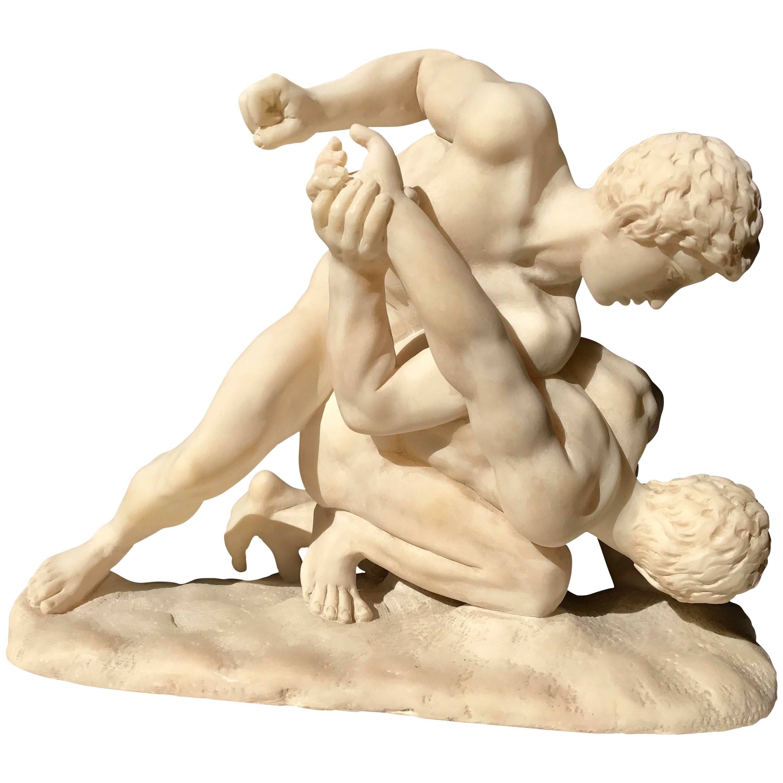 "Alabaster Sculpture of  ""The Wrestlers"""