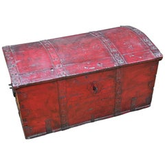 1800s Amerika Thorvald Bredson Colonial Domed Blanket Chest Steamer Trunk