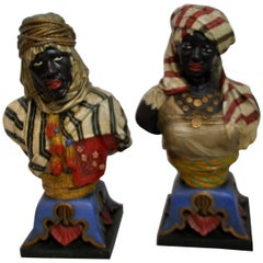 Pair of 19th Century Spelter Cold-Painted Busts of Middle Eastern Figures