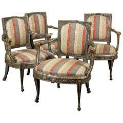 Fine Set of Four South Italian Green-Painted and Parcel-Silvered Armchairs