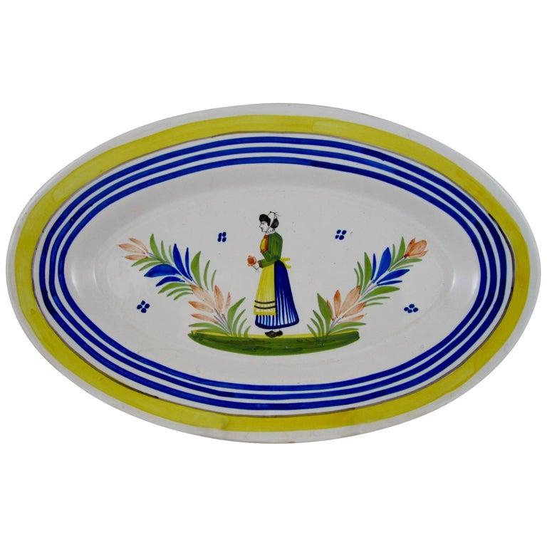 Midcentury HenRiot Quimper Faiençe Oval Platter, Femme de la Campagne Breton