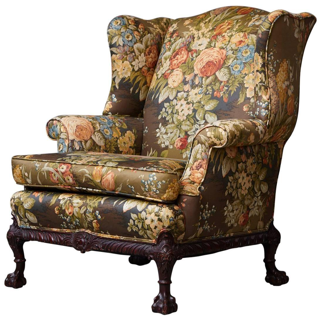 late 19th century chippendale mahogany wing back chair with claw and ball feet