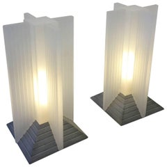 Pair of Acrylic and Cement Memphis Table Lamps