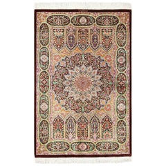 Small Scatter Size Modern Silk Persian Qum Rug
