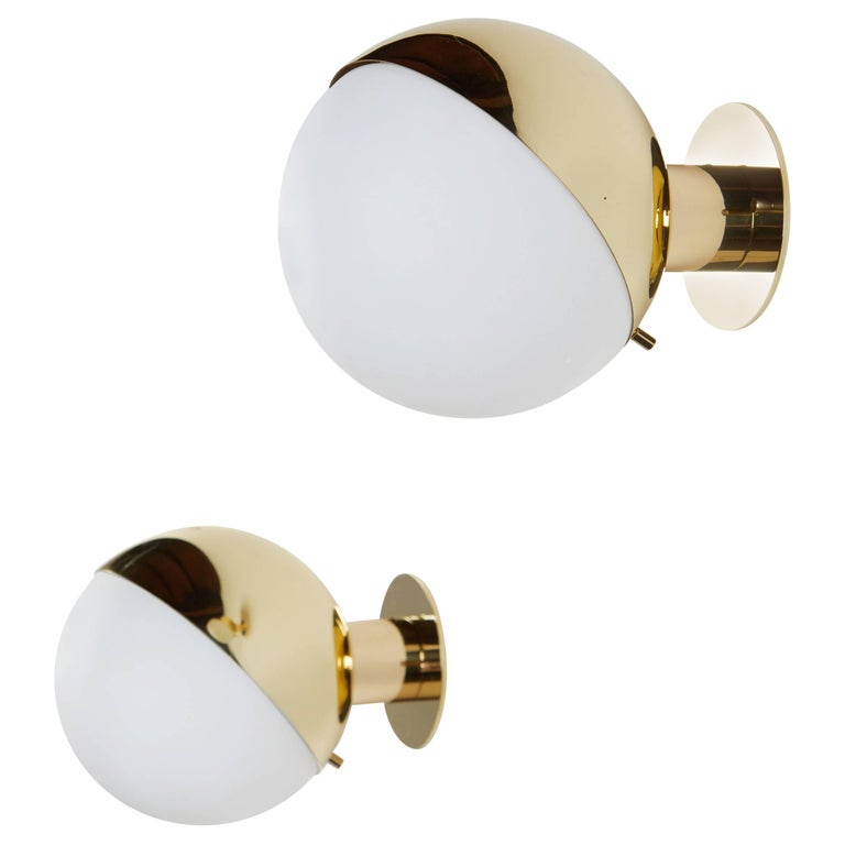 Pair of Brass and Opaline Glass Sconces by Stilnovo For Sale