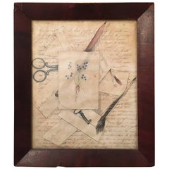 Folk Art Trompe L'Oeil Drawing on Paper of Letters