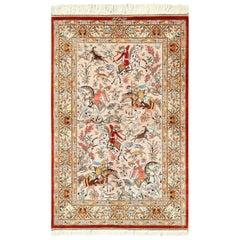 Hunting Scene Modern Silk Persian Qum Rug