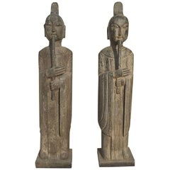 Pair of Stone Flute Player Musicians Statues