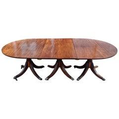 Period Early 19th Century Regency Three Pedestal Dining Table, circa 1820-40