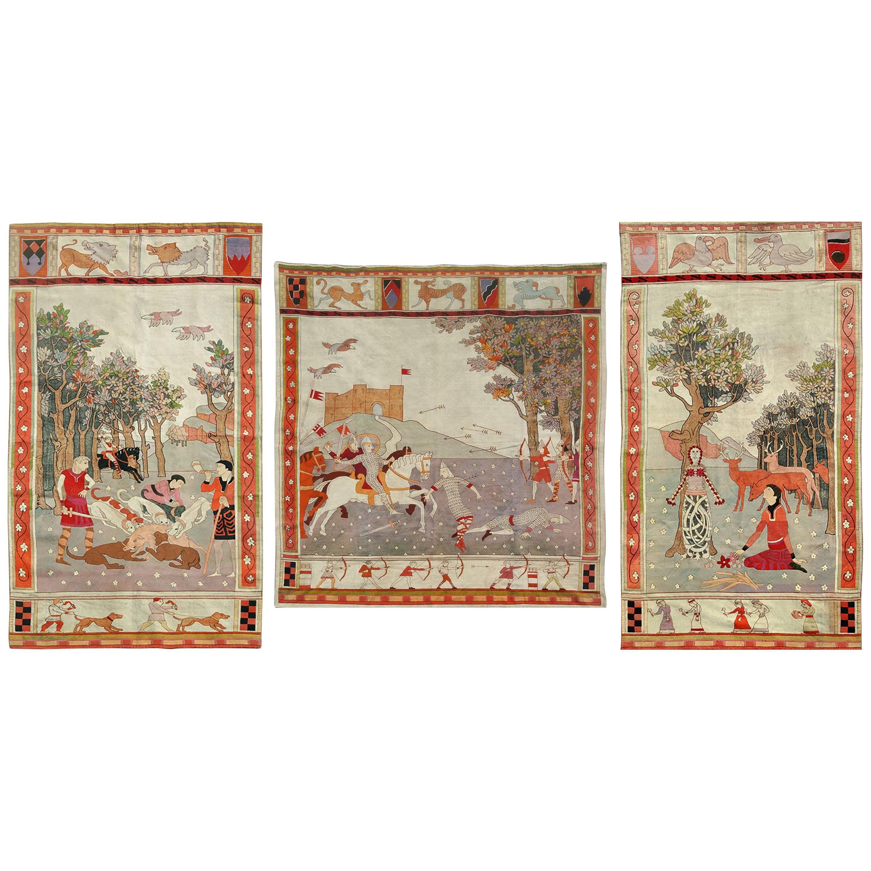 set of three large and impressive arts and crafts tapestries circa