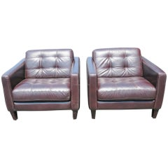 Pair of Custom Modern Design Leather Tufted Lounge Chairs