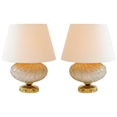 Pair of 1950s Italian Murano Mottled Cream 'Turban' Lamps