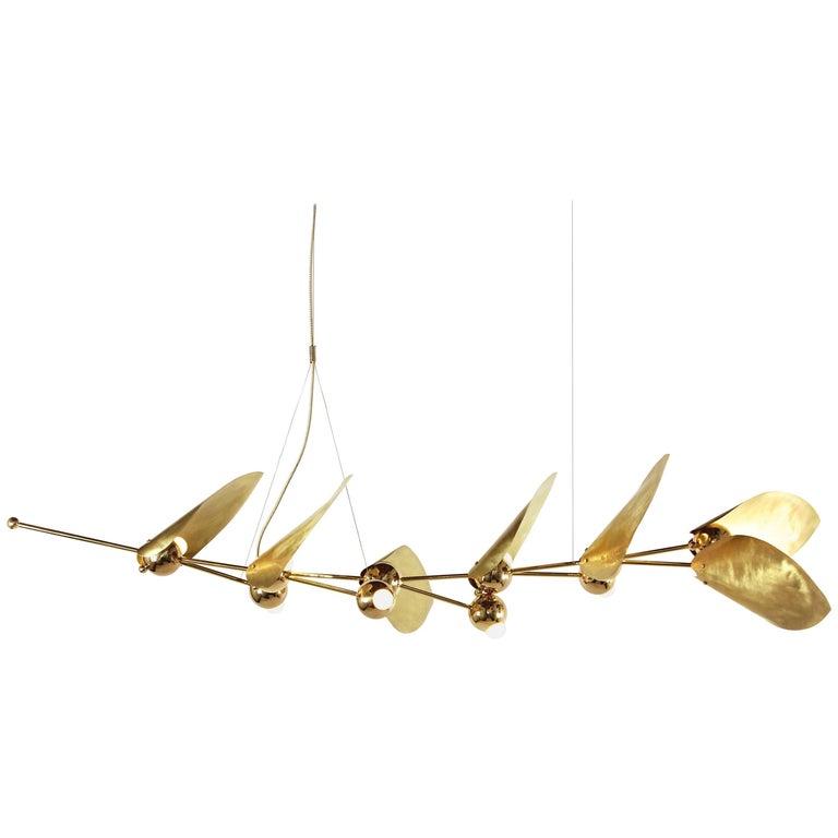 Laurel Seven-Leaf Chandelier, Brass Finish, Modern Sculptural Organic Lighting 1