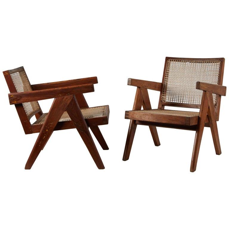 Pair of Easy Armchairs by Pierre Jeanneret For Sale