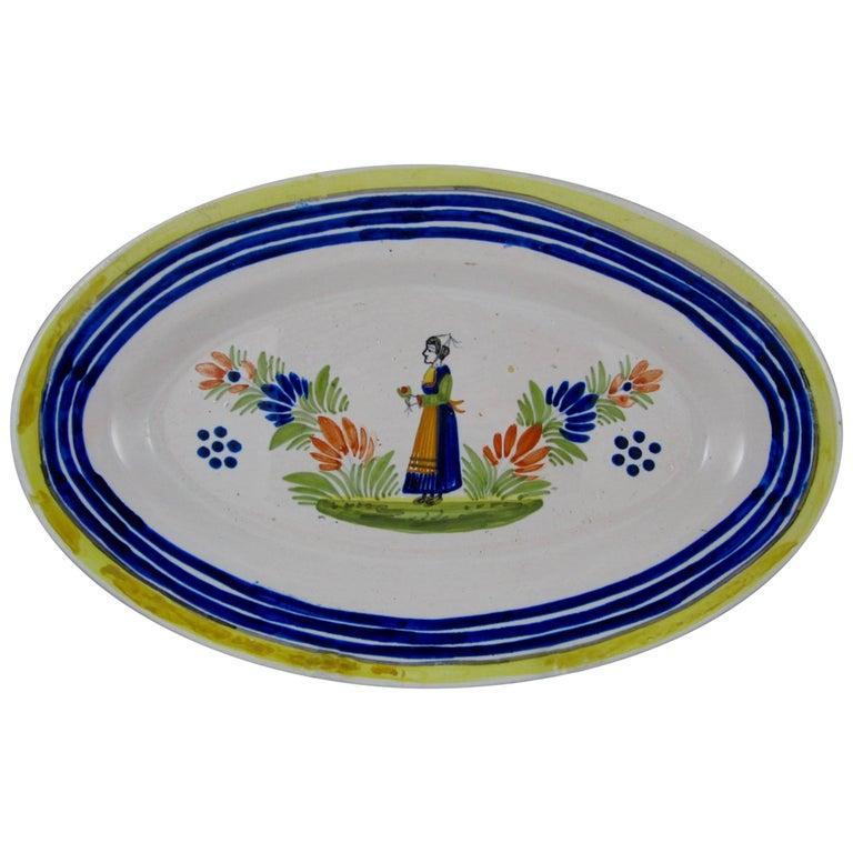 Midcentury HenRiot Quimper Faience Oval Platter, Femme de la Campagne Breton